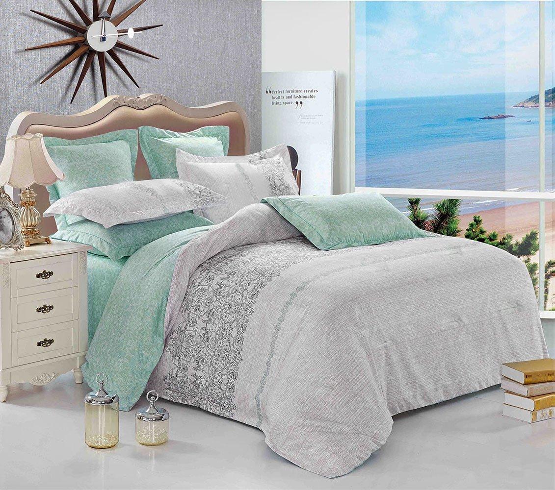 Grey Teal Comforter Set Queen