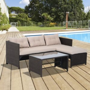 Outsunny 3pcs Outdoor Rattan Wicker Sofa and Chaise Lounge Set with Cushion Garden Patio Furniture Brown and Beige