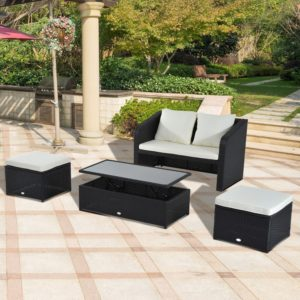 Outsunny 4pc Rattan Wicker Loveseat